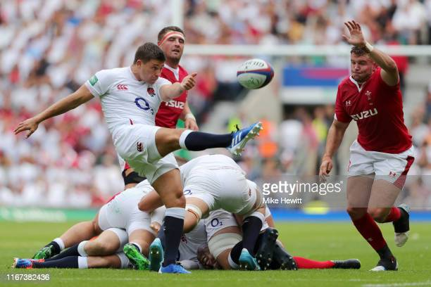 Ben Youngs of England clears the ball during the 2019 Quilter International match between England and Wales at Twickenham Stadium on August 11, 2019...