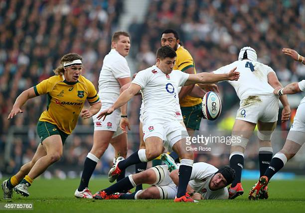 Ben Youngs of England clears the ball during the QBE international match between England and Australia at Twickenham Stadium on November 29, 2014 in...