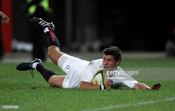 Ben Youngs of England dives over to score the first try during the Cook Cup Test Match between the Australian Wallabies and England at ANZ Stadium on...