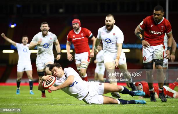 Ben Youngs of England dives over to score their side's second try during the Guinness Six Nations match between Wales and England at Principality...