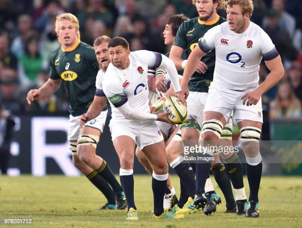 Ben Youngs of England passes the ball during the 2018 Castle Lager Incoming Series match between South Africa and England at Toyota Stadium on June...