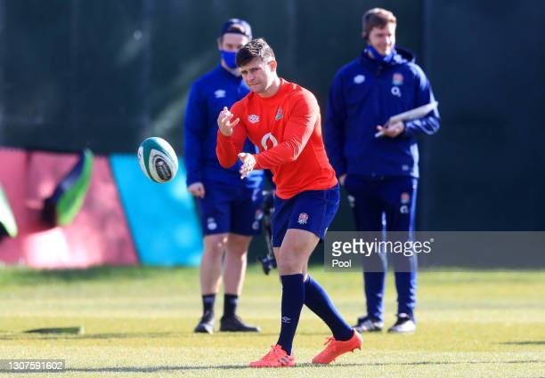 Ben Youngs of England passes the ball during the England training session ahead of the Guinness Six Nations match between Ireland and England at The...