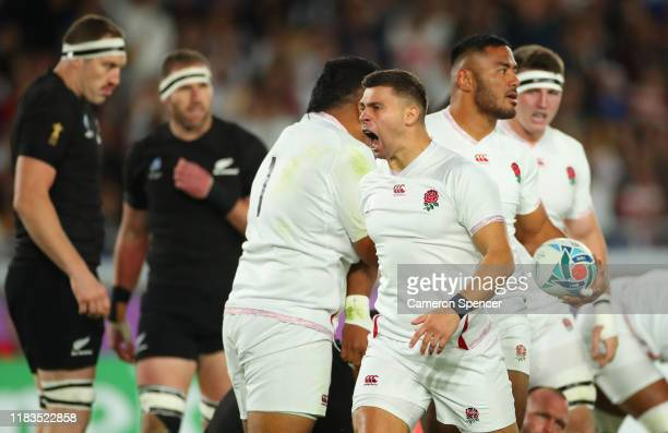 Ben Youngs of England reacts after Manu Tuilagi of England scores his teams first try during the Rugby World Cup 2019 SemiFinal match between England...