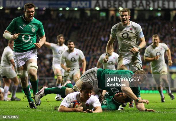 Ben Youngs of England scores his try during the RBS 6 Nations match between England and Ireland at Twickenham Stadium on March 17 2012 in London...