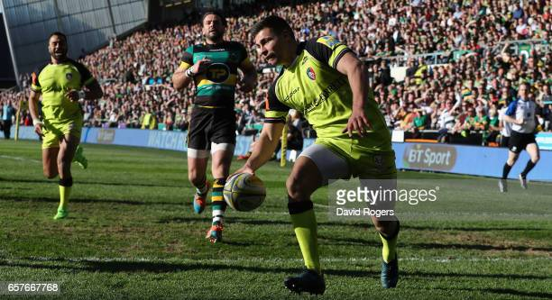Ben Youngs of Leicester scores a try during the Aviva Premiership match between Northampton Saints and Leicester Tigers at Franklin's Gardens on...