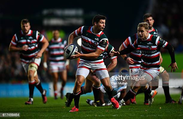 Ben Youngs of Leicester Tigers looks for a pass during the European Rugby Champions Cup match between Leicester Tigers and Racing 92 at Welford Road...