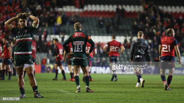 Ben Youngs of Leicester Tigers looks oon after his team lost to Munster during the European Rugby Champions Cup match between Leicester Tigers and...