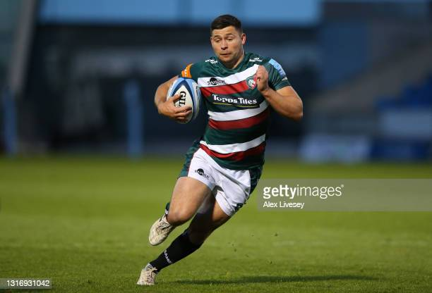 Ben Youngs of Leicester Tigers runs with the ball during the Gallagher Premiership Rugby match between Sale and Leicester Tigers at AJ Bell Stadium...
