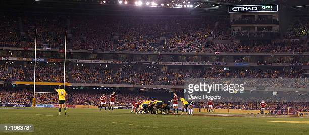 Ben Youngs of the Wallabies prepares to feed the ball into the scrum during game two of the International Test Series between the Australian...