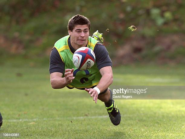 Ben Youngs passes the ball during the England training session held at Pennyhill Park Hotel on November 2 2010 in Bagshot England