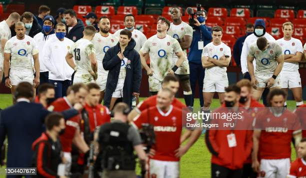 Ben Youngs , Tom Curry and George Ford of England and team mates look dejected following their side's defeat in the Guinness Six Nations match...