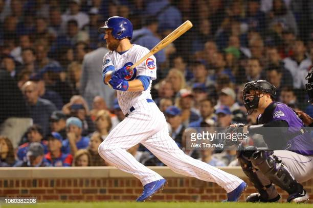 Ben Zobrist of the Chicago Cubs bats during the National League Wild Card game against the Colorado Rockies at Wrigley Field on Tuesday October 2...
