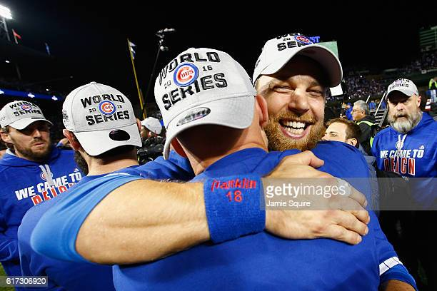 Ben Zobrist of the Chicago Cubs celebrates after defeating the Los Angeles Dodgers 50 in game six of the National League Championship Series to...