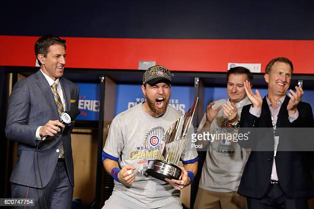 Ben Zobrist of the Chicago Cubs celebrates with the 2016 World Series Most Valuable Player Award after the Chicago Cubs defeated the Cleveland...