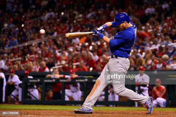 Ben Zobrist of the Chicago Cubs drives in a run on a fielders choice during the ninth inning against the St Louis Cardinals at Busch Stadium on May 4...