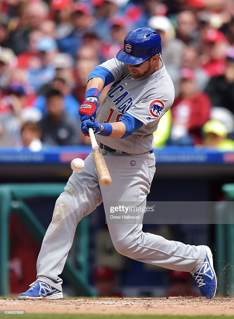 Ben Zobrist #18 of the Chicago Cubs hits a home run the sixth inning against the Philadelphia Phillies at Citizens Bank Park on June 8, 2016 in Philadelphia, Pennsylvania. The Cubs won 8-1.