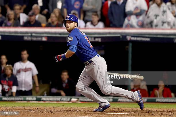 Ben Zobrist of the Chicago Cubs hits a RBI double in the 10th inning against the Cleveland Indians in Game Seven of the 2016 World Series at...