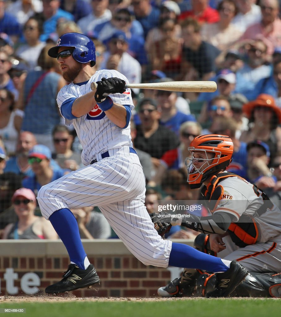 Ben Zobrist #18 of the Chicago Cubs hits a two run double in the 7th inning against the San Francisco Giants at Wrigley Field on May 25, 2018 in Chicago, Illinois.