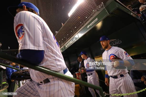 Ben Zobrist of the Chicago Cubs looks on before the National League Wild Card game against the Colorado Rockies at Wrigley Field on Tuesday, October...