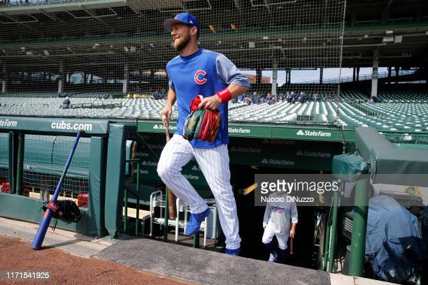 Ben Zobrist of the Chicago Cubs returns to Wrigley Field for the game against the Milwaukee Brewers on September 01 2019 in Chicago Illinois Zobrist...
