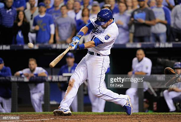 Ben Zobrist of the Kansas City Royals drives in a run in the fifth inning against the Houston Astros during game five of the American League Divison...