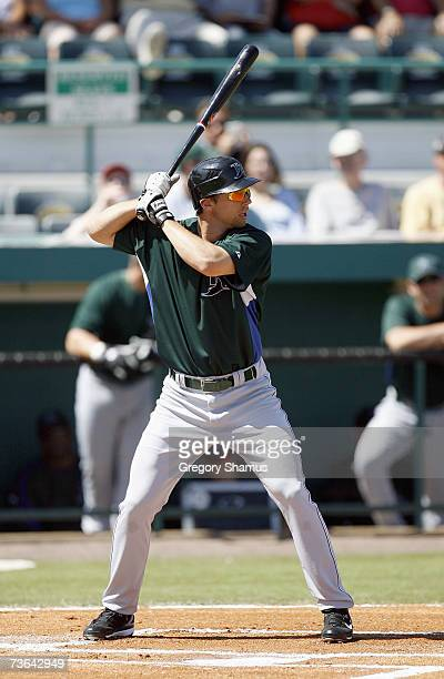 Ben Zobrist of the Tampa Bay Devil Rays stands ready at bat during a Spring Training game against the Pittsburgh Pirates on March 8, 2007 at...