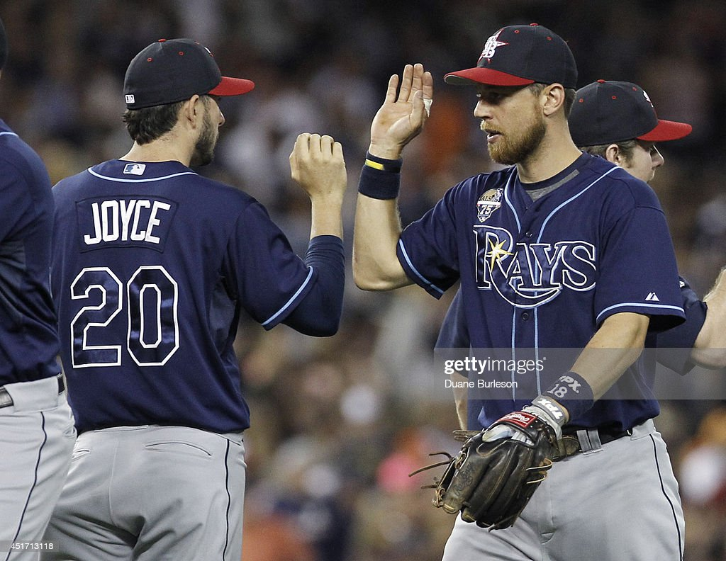 Ben Zobrist #18 of the Tampa Bay Rays, who doubled twice and drove in two runs, celebrates a 6-3 win over the Detroit Tigers with Matt Joyce #20 of the Tampa Bay Rays at Comerica Park on July 4, 2014 in Detroit, Michigan.