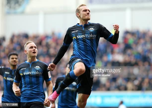 Ben Zolinski of SC Paderborn 07 celebrates after scoring his sides first goal during the Bundesliga match between SC Paderborn 07 and 1 FSV Mainz 05...