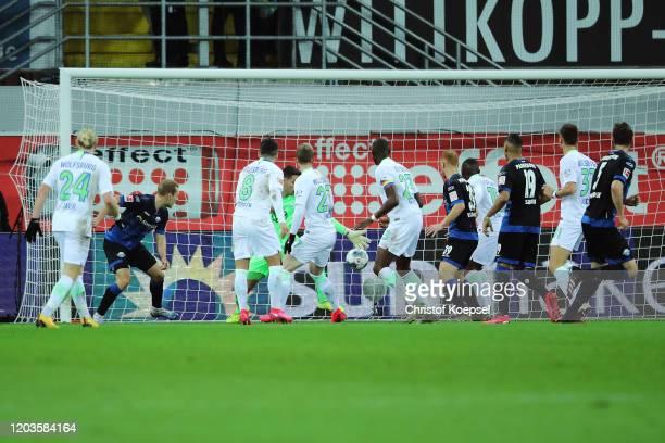 Ben Zolinski of SC Paderborn scores his sides first goal during the Bundesliga match between SC Paderborn 07 and VfL Wolfsburg at Benteler Arena on...
