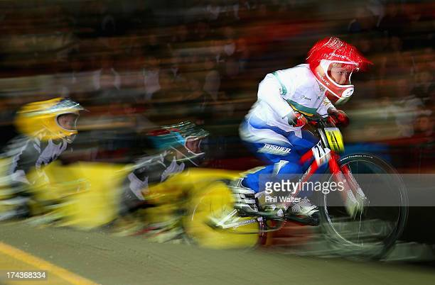 Benaiah Richards of Australia competes in the 5 6 year boys during day two of the UCI BMX World Championships at Vector Arena on July 25 2013 in...