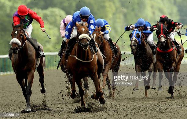 Benandonner ridden by Andrea Atzeni leads the field to win The EBF Paul Kelleway Memorial Classified Stakes on July 14 2010 at Lingfield Park in...