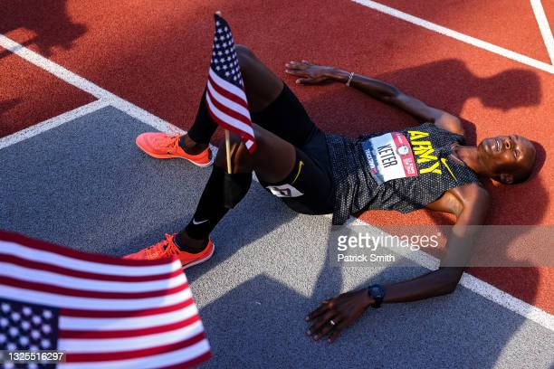 Benard Keter reacts after finishing second in the Men's 3000 Meters Steeplechase Final during day eight of the 2020 U.S. Olympic Track & Field Team...