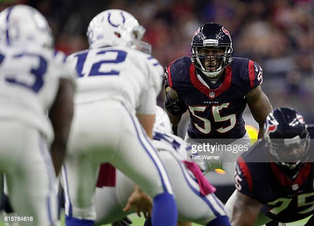 Benardrick McKinney of the Houston Texans looks over the line of scrimmage before the snap in the fourth quarter during the NFL game between the...