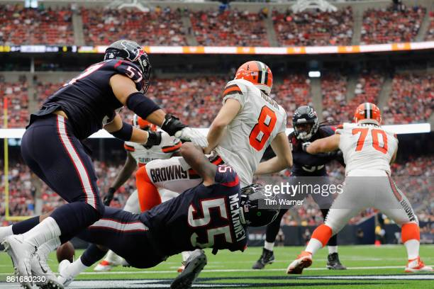 Benardrick McKinney of the Houston Texans pressures quarterback Kevin Hogan of the Cleveland Browns in the endzone during the third quarter at NRG...