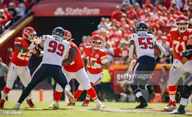 Benardrick McKinney of the Houston Texans rushes unblocked towards Patrick Mahomes of the Kansas City Chiefs at Arrowhead Stadium on October 13 2019...