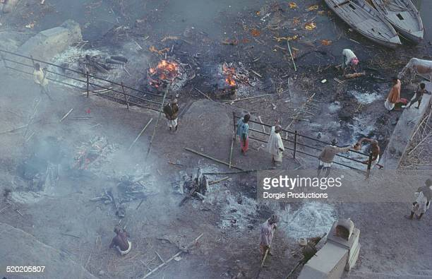 Benares burning Ghat with bodies burning