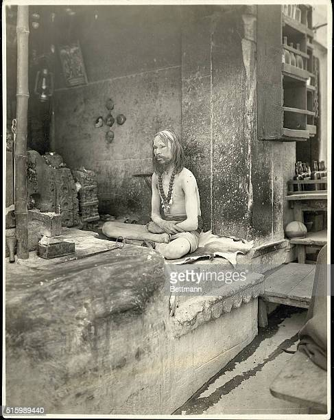 Portrait of a holy man of the burning ghats also known as a fakir Undated photograph