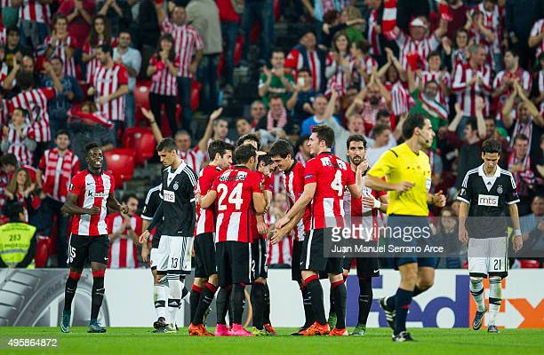 Benat Etxebarria of Athletic Club celebrates after scoring his team's third goal during the UEFA Europa League match between Athletic Club and FK...