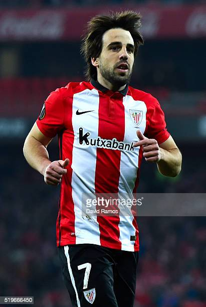 Benat Etxebarria of Athletic Club looks on during the UEFA Europa League quarter final first leg match between Athletic Bilbao and Sevilla at San...