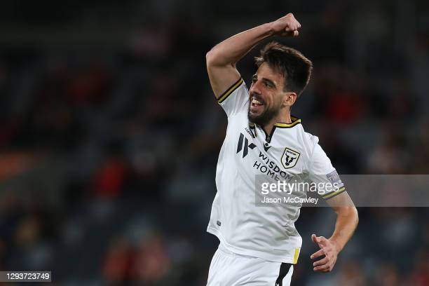 Benat Etxebarria of Macarthur FC celebrates scoring a goal during the A-League match between the Western Sydney Wanderers and Macarthur FC at...