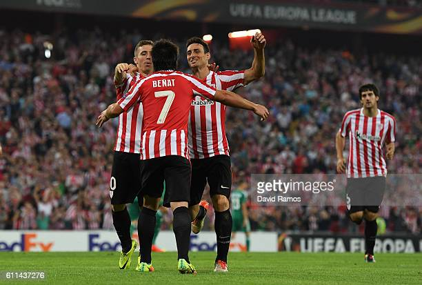 Benat of Athletic Bilbao celebrates after scoring the opening goal during the UEFA Europa League group F match between Athletic Club and SK Rapid...
