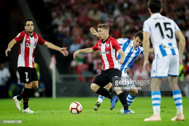 Benat of Athletic Bilbao Iker Muniain of Athletic Bilbao Ruben Pardo of Real Sociedad Aritz Elustondo of Real Sociedad during the La Liga Santander...