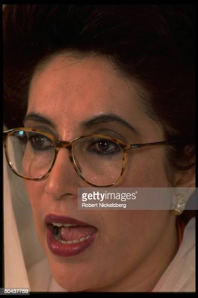 Benazir Bhutto addressing for. Press in interview at PM's residence in Islamabad, Pakistan.