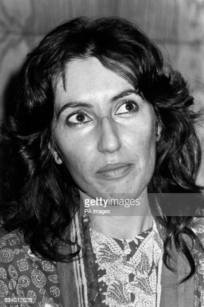 Benazir Bhutto daughter of the late Pakistani Prime Minister Zulfikar Ali Bhutto at Heathrow Airport