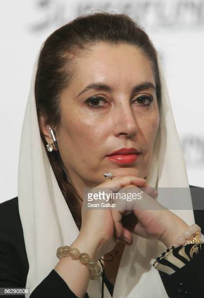Benazir Bhutto former Prime Minister of Pakistan attends a press conference prior to the Women's World Awards November 29 2005 in Leipzig Germany...