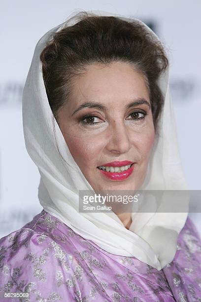 Benazir Bhutto former Prime Minister of Pakistan holds her World Tolerance Award at the Women's World Awards November 29 2005 in Leipzig Germany
