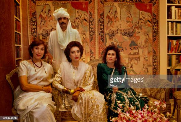 Benazir Bhutto her mother Nusrat Bhutto Benazir's sister Nassim and Benazir's husband Asif Zardari on their December 18 at the Clifton Palace garden...