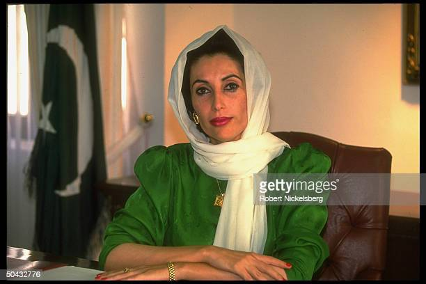 PM Benazir Bhutto in her office