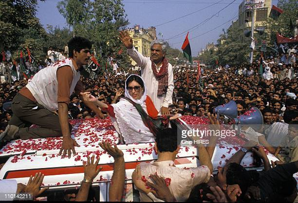 Benazir Bhutto on election campaign in Punjab Pakistan in January 161988