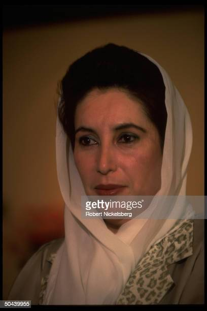 Benazir Bhutto speaking in TIME interview in her office.